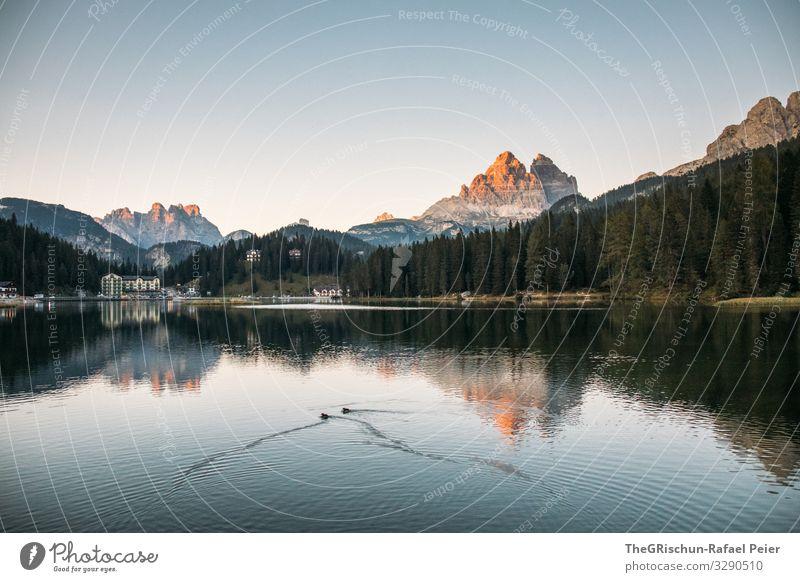 View of Tre Cime di Laveredo at the Lago di Misurina Lake mirror mountain Mountain Tre Cime di Lavaredo bank evening mood Sunset South Tyrol Sunlight Blue cute