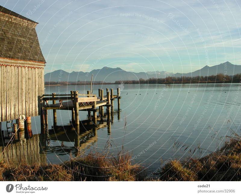 Water Autumn Mountain Lake Large Footbridge Bavaria