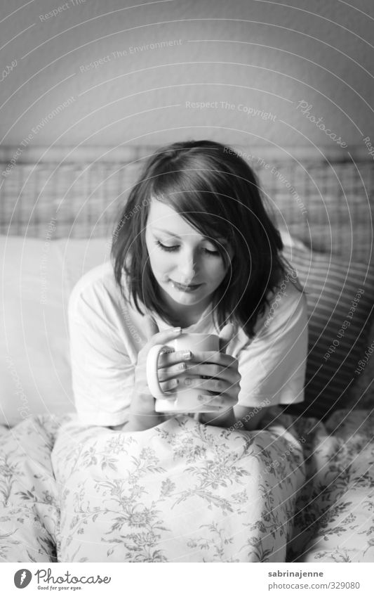 Coffee Human being Feminine 1 18 - 30 years Youth (Young adults) Adults tired Fatigue Bedclothes Arise Morning Black & white photo Interior shot Day Downward