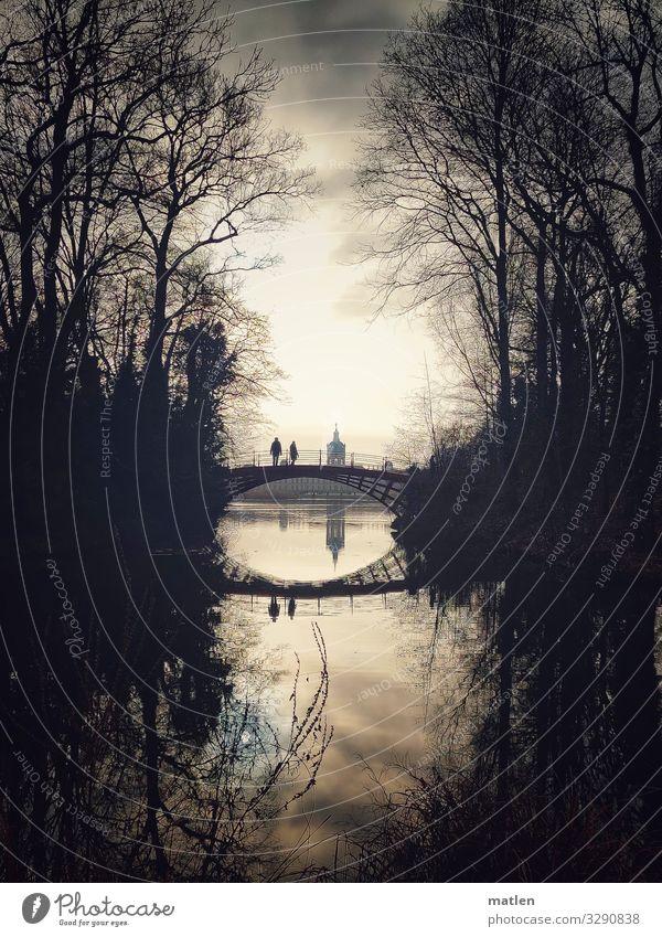 Human being Old Blue Dark Brown Gray Park Bridge To go for a walk Tourist Attraction Landmark Castle Charlottenburg castle