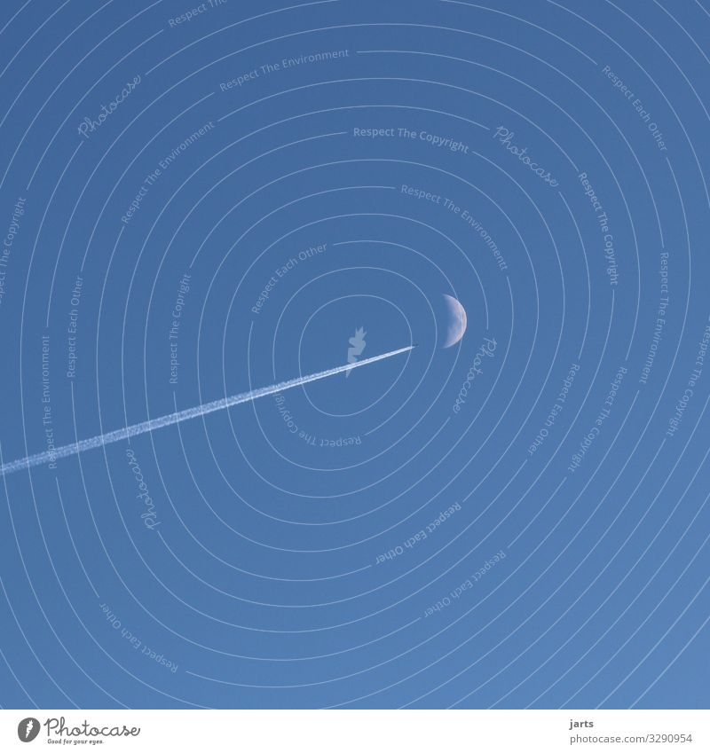 direction moon Aviation Sky Moon Flying Future Astronautics Airplane Colour photo Exterior shot Deserted Copy Space right Copy Space top Copy Space bottom Day
