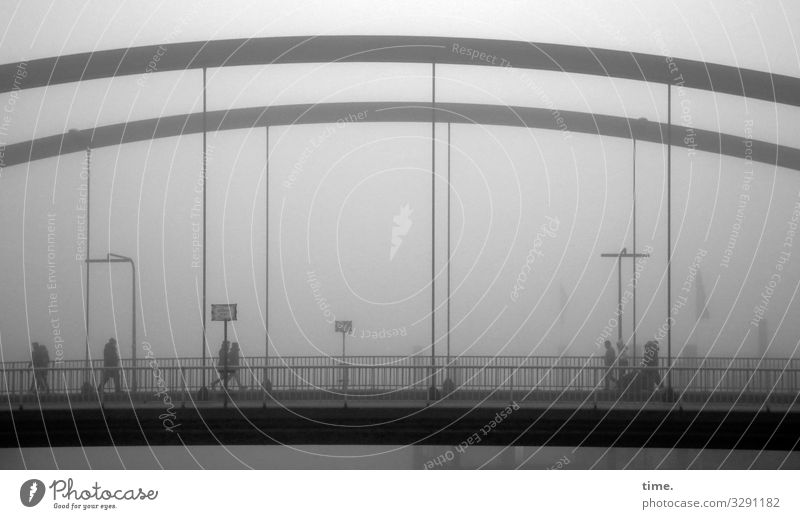 Human being Town Dark Cold Lanes & trails Movement Moody Going Fog Signs and labeling Perspective Bridge Attachment Surprise Inspiration Steel