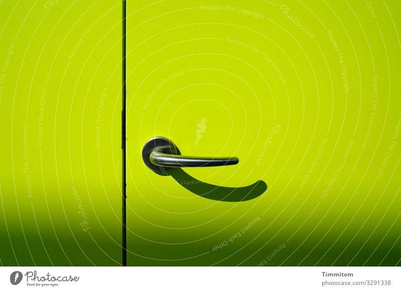 Opening a new door Economy Door Door handle Wood Metal Plastic Line Esthetic Green Black Emotions Curiosity Interest Anxious Colour photo Interior shot Deserted