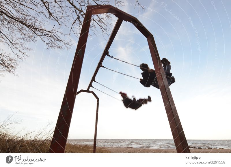 swedeneck Human being Child Infancy 2 Movement Swing Beach Ocean Freedom To swing Parallel Simultaneous Speed Playground Children's game Ease Future Target