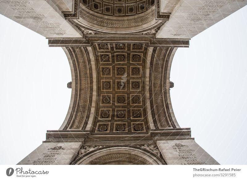 Arc de Triomphe Town Capital city Black White Paris Worm's-eye view Arch Roman Triumphal arch France Manmade structures Work of art Architecture Colour photo