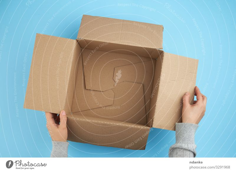 empty open box of brown cardboard Craft (trade) Mail Business Hand Bottom Transport Container Pack Paper Packaging Package Clean Blue Brown Yellow White