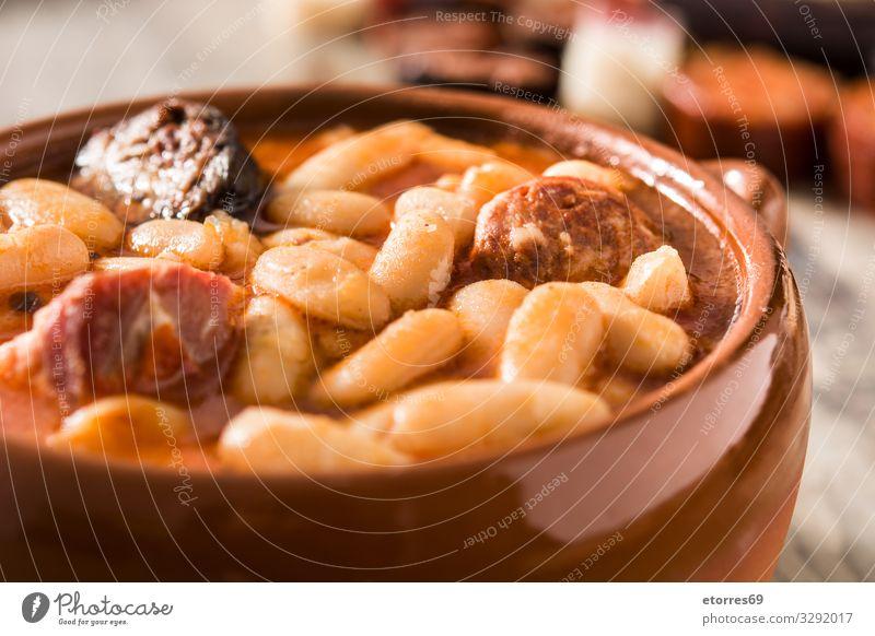 Typical Spanish fabada asturiana background Beans chorizo Close-up Dinner Dish Food Healthy Eating Food photograph Ham Home-made iberico Meat recipe Sauce Stew
