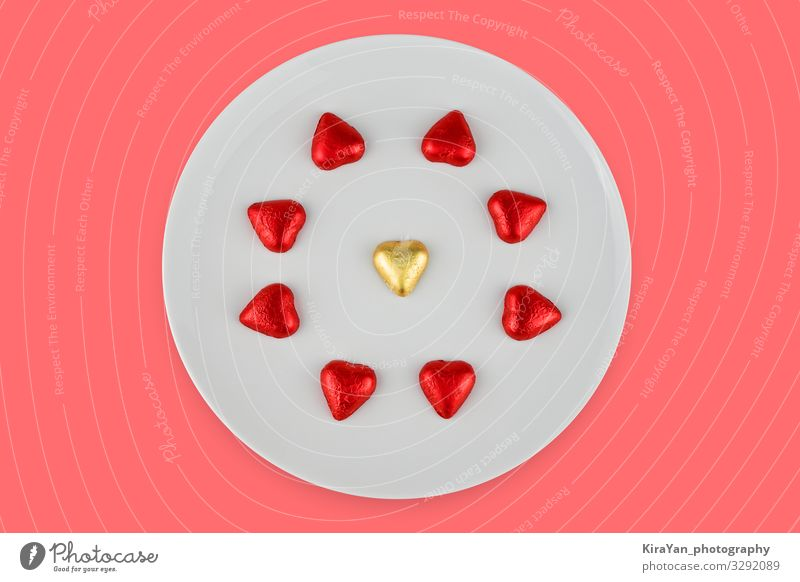 Abstract chocolate candies in hearts shape on white plate Vacation & Travel Red Love Feasts & Celebrations Couple Copy Space Pink Decoration Bright Sweet Heart
