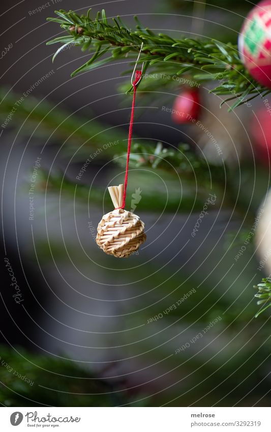 Christmas decoration Strohkugerl Lifestyle Style Feasts & Celebrations Christmas & Advent Plant Tree Fir tree Coniferous trees Twigs and branches Straw ball