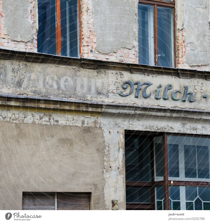 Hairstyle milk Hairdresser Trade lost places goerlitz Facade Window Word Old Authentic Sharp-edged Historic Gray Moody Acceptance Secrecy Refrain End Competent