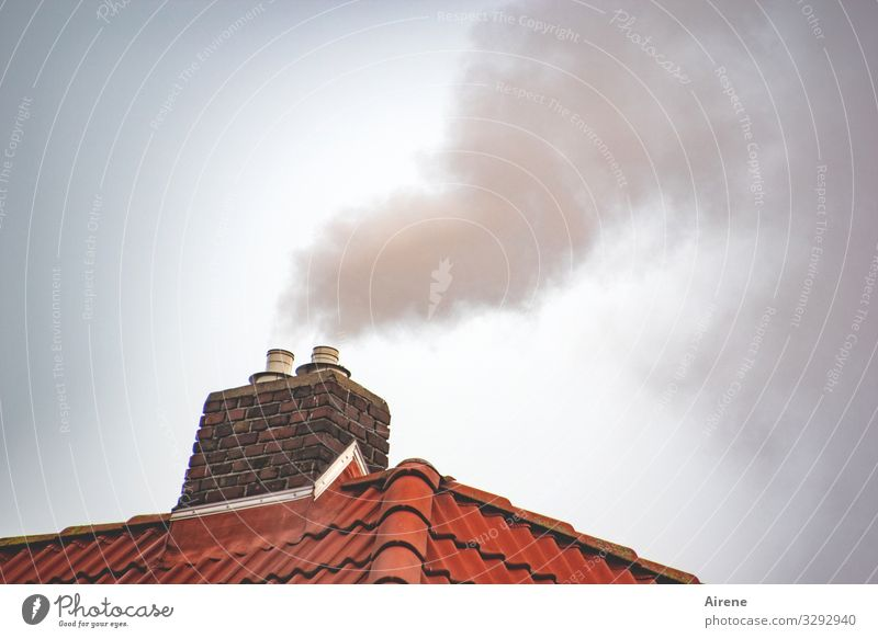 smoking area Deserted Roof Chimney Tiled roof Fireside Smoke Exhaust gas Smoking Hot Above Warmth Warm-heartedness Environment Environmental pollution Heat