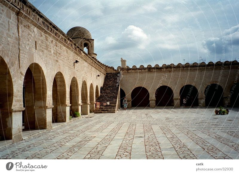 Moscheeplatz Culture Monastir Tunisia Africa Church Dome Places Building Stairs Facade Terrace Tourist Attraction Stone Old Obedient Patient Cleanliness Belief