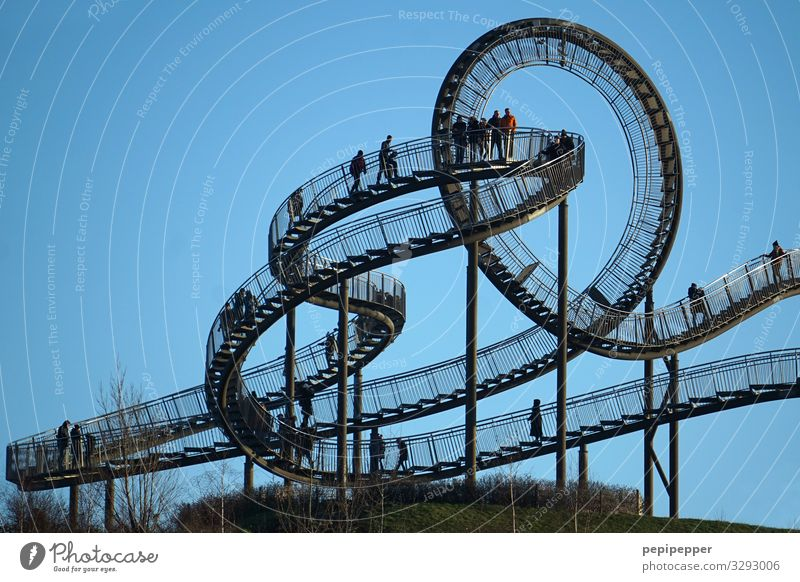 roller coaster on foot Leisure and hobbies Vacation & Travel Tourism Trip Adventure Sightseeing Halfpipe Group Sky Park Meadow Hill Duisburg Tourist Attraction