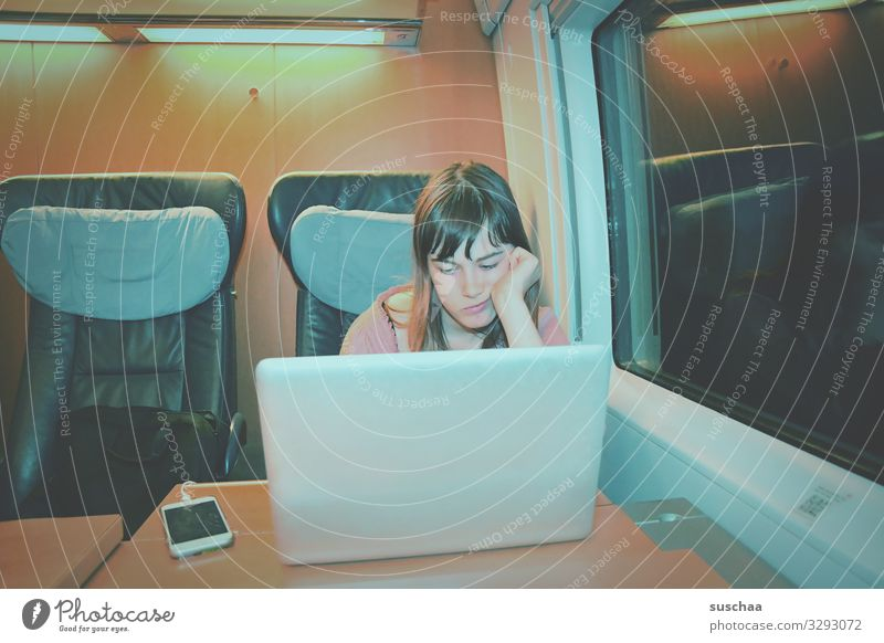travelling by train Child Girl Youth (Young adults) 13 - 18 years Vacation & Travel Train travel Train compartment Night Seating Table Electrical equipment