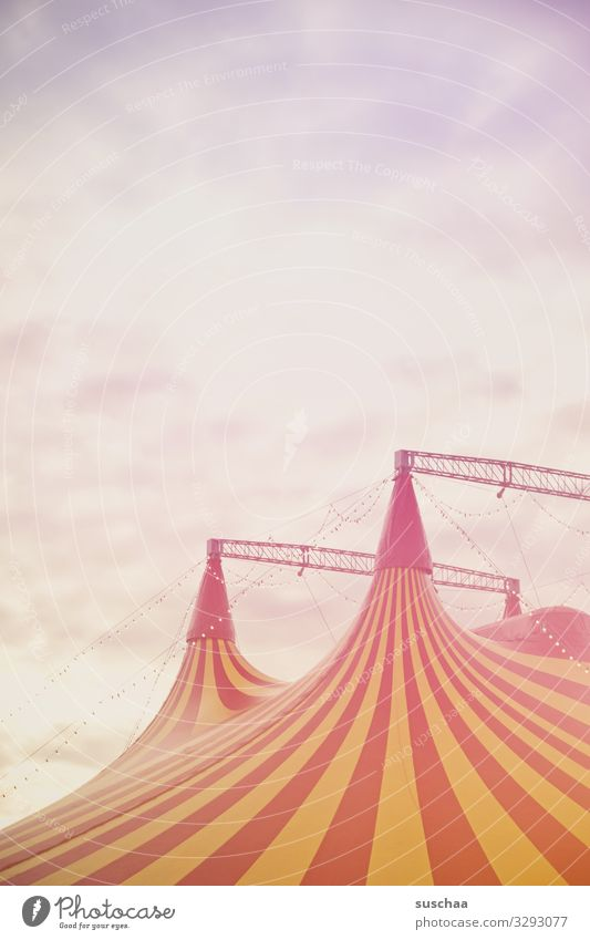 above the circus tent Circus Circus tent Shows Dream for children Anticipation Fairs & Carnivals Entrance Sensation Acrobatics Tent Sky Tall Multicoloured