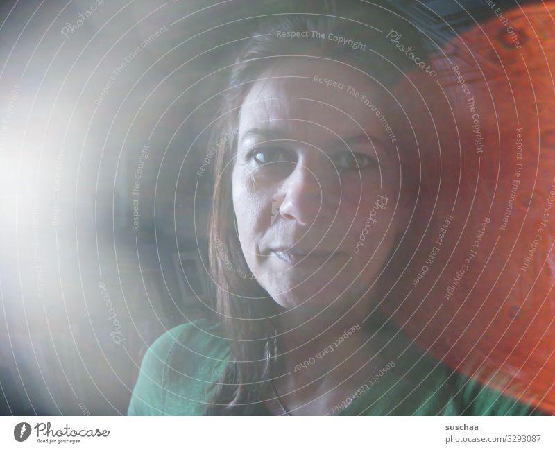 view into the camera Woman feminine Head Face Light Light (Natural Phenomenon) Lens flare Contrast Portrait photograph Self portrait