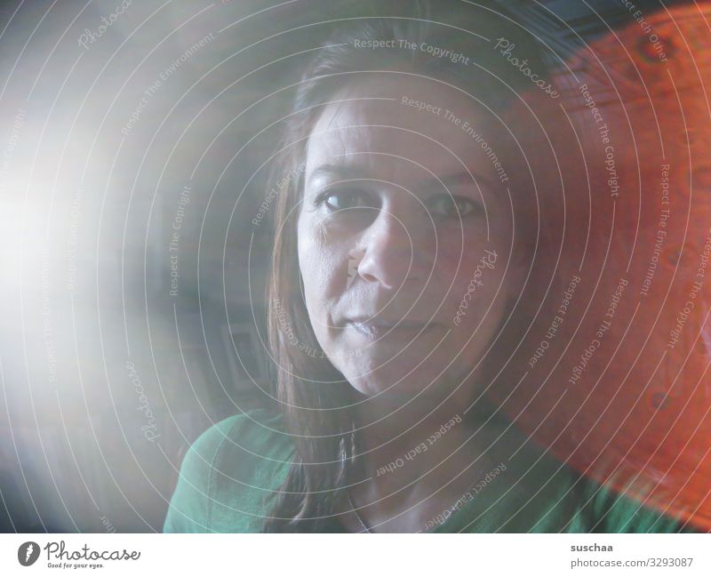 Woman Face Head Self portrait Lens flare
