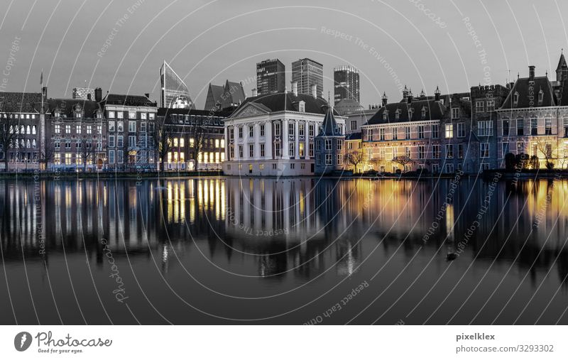 The Hague (Netherlands) Tourism Sightseeing City trip Night life Water Coast Gracht Den Haag Europe Town Capital city Port City Downtown Old town Skyline