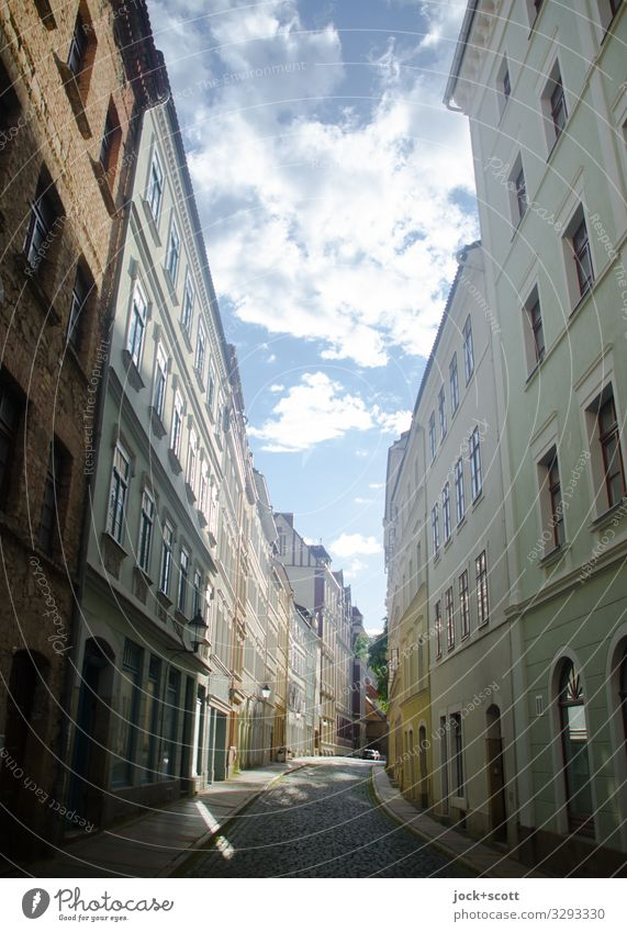 Road escape Sky Summer Town Clouds Building Facade Beautiful weather Historic Old town Long Saxony Town house (City: Block of flats) Street alignment