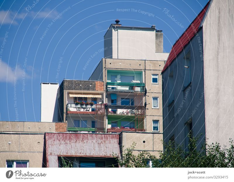 Mainly plate construction Sky Town Facade Gloomy Authentic Beautiful weather Tall Balcony Sharp-edged Poland