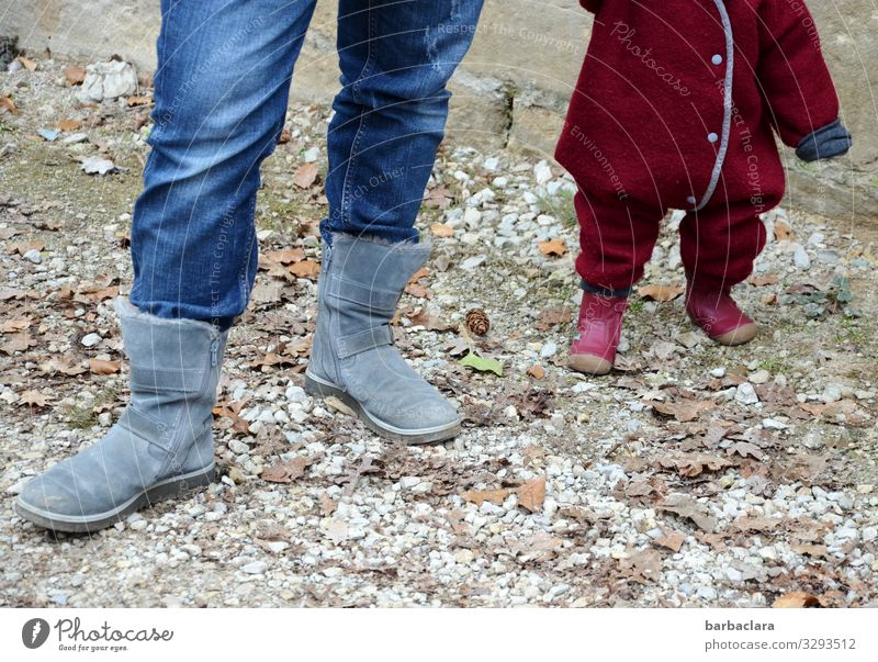 Mama-feet and child-feet Feminine Toddler Mother Adults Legs Feet 2 Human being Winter Pants Boots Stand Large Cold Small Blue Red Trust Safety Together