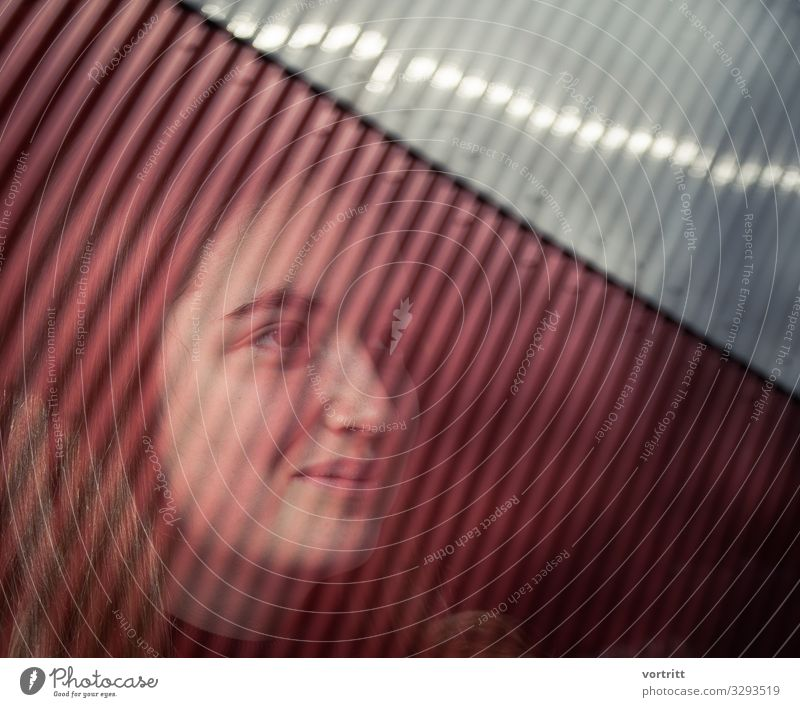 Portrait Young woman with graphic reflection portrait mirroring Graph Grid Subdued colour side view pretty Strong Happiness