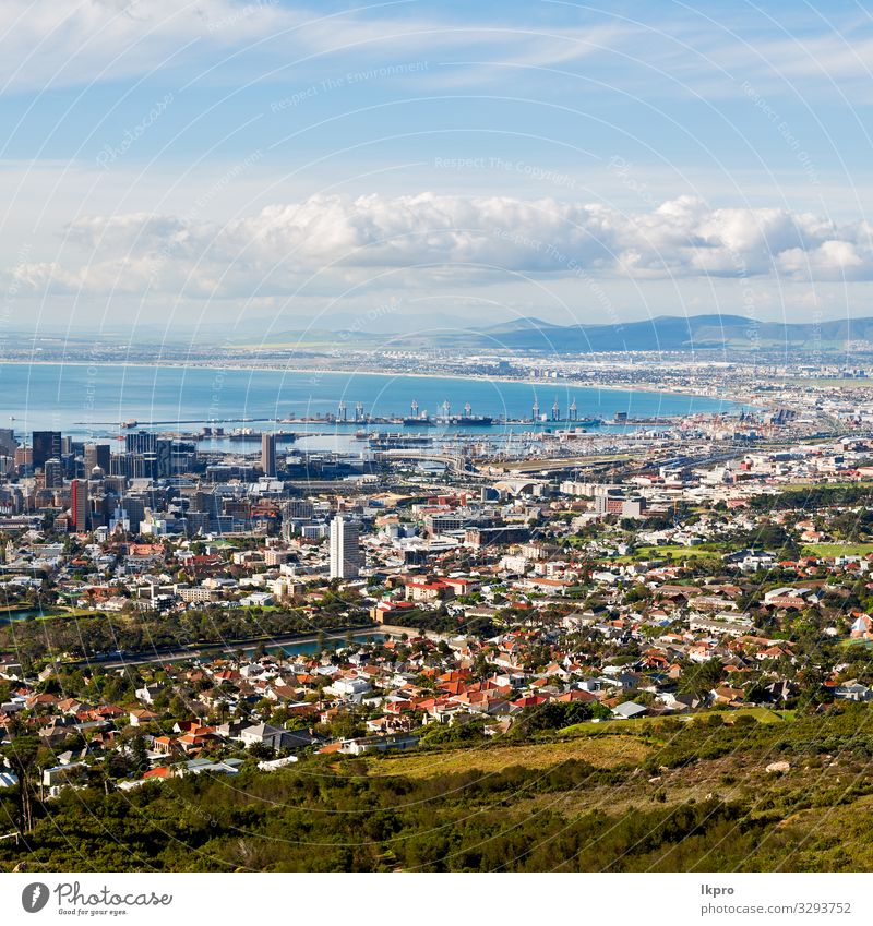 in south africa city skyline from mountain Vacation & Travel Ocean Mountain Table Nature Landscape Sky Clouds Hill Town Downtown Skyline High-rise Places