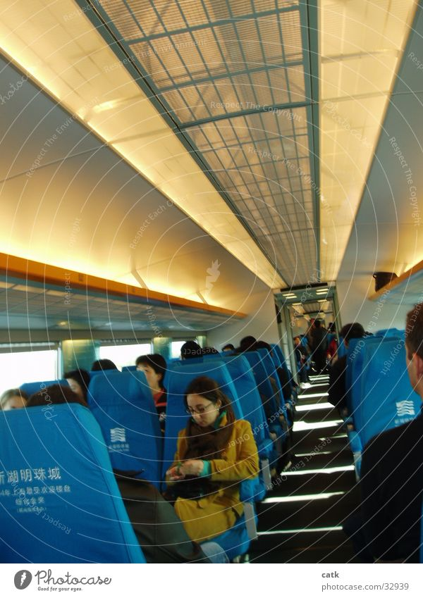 transrapid Maglev train Shanghai Asia China High-tech Transport Train station Railroad passenger compartment Seating railway seats Modern cabin almost Corridor