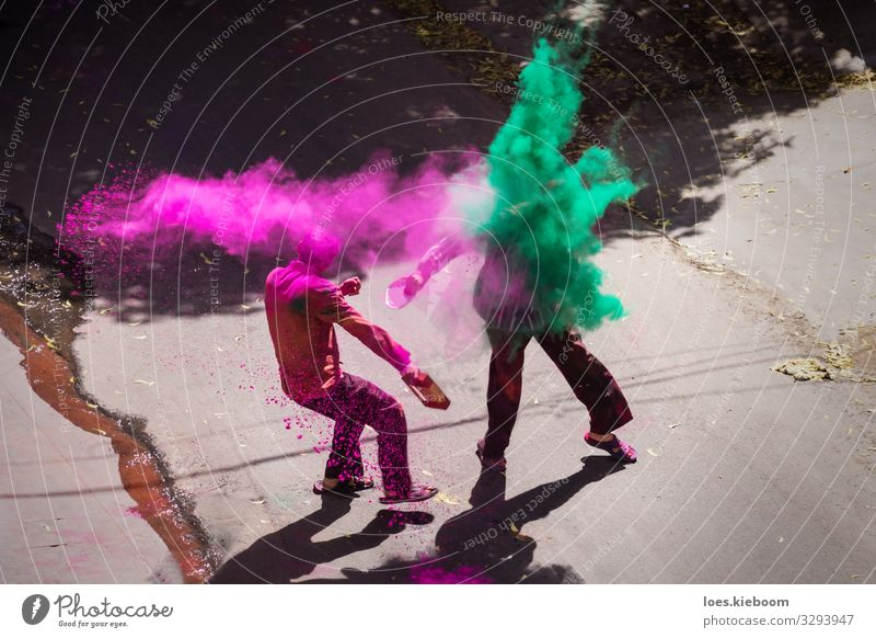 Indian Holi celebration with color powder Joy Vacation & Travel Tourism Far-off places Human being Event Feasts & Celebrations Happiness Pink Spring fever