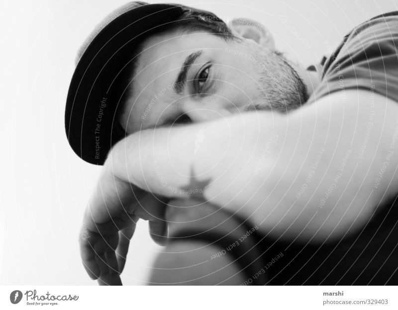 Human being Man Youth (Young adults) Beautiful Relaxation Adults Young man Emotions Style Head Fashion Moody Masculine Leisure and hobbies Sleep Tattoo