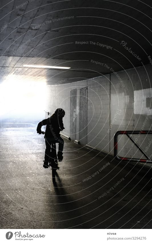 By bicycle through the underpass Leisure and hobbies Trip Freedom Fitness Sports Training Cycling Bicycle Masculine Child Boy (child) 1 Human being 8 - 13 years