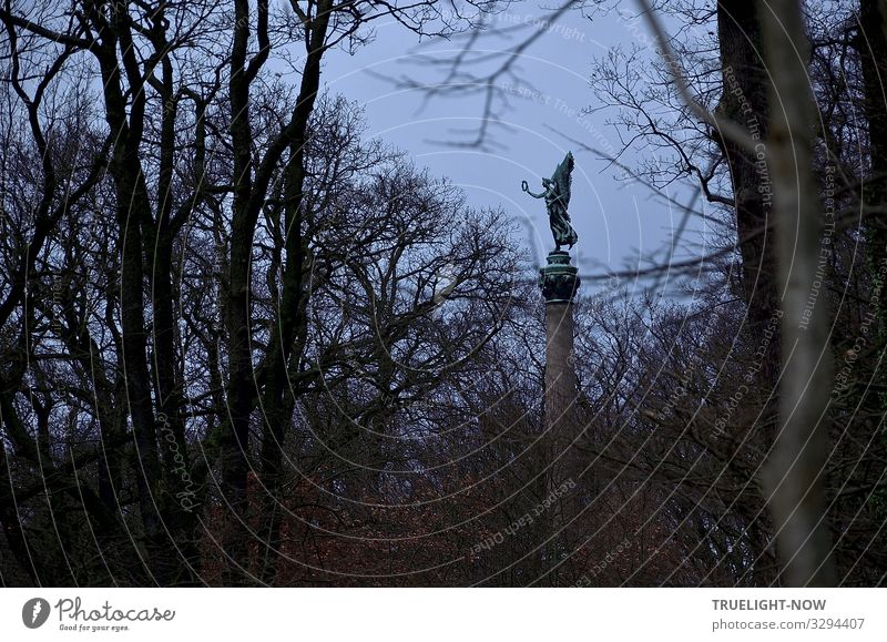 farsighted   win... Work of art Sculpture Monument Environment Nature Air Sky Autumn Winter Tree Bushes Park Forest Hill Peak Large Bravery Resolve Success Hope