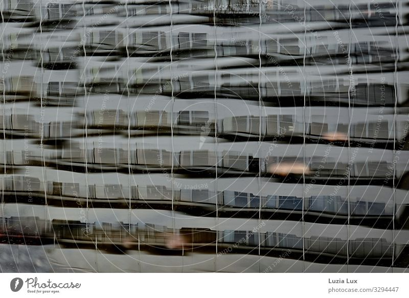 many windows, reflection Town Building Architecture Facade Balcony Window Concrete Glass Blue Brown Gray Water Waves Reflection Subdued colour Exterior shot