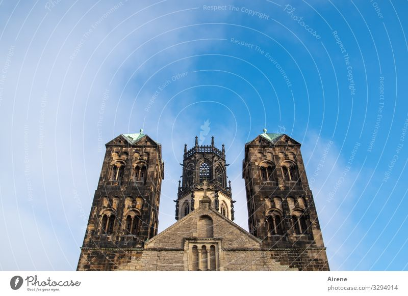lifted | from all earthly spires Church Architecture Sky Beautiful weather muenster Tower Manmade structures Facade Historic Tall Religion and faith Romanesque