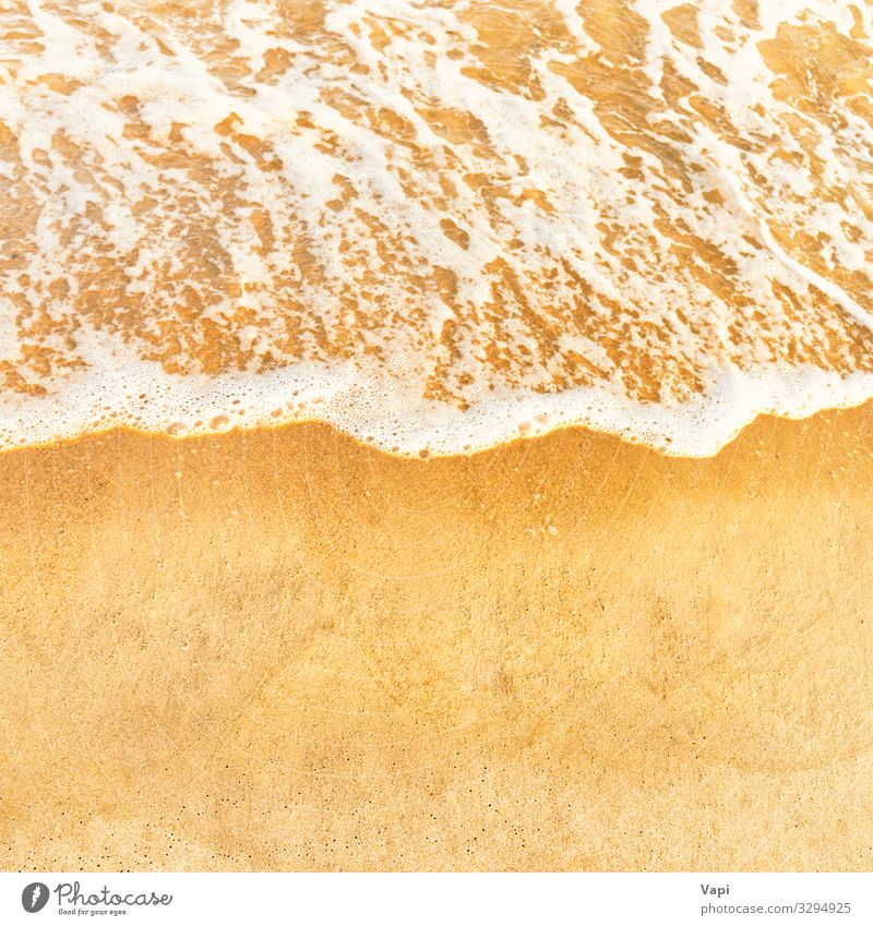 Beach sand and ocean wave Vacation & Travel Nature Summer Water White Landscape Sun Ocean Relaxation Far-off places Autumn Yellow Love Spring Coast