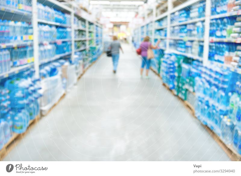 Market shop and supermarket interior Food Beverage Cold drink Drinking water Bottle Glass Lifestyle Shopping Work and employment Workplace Economy Industry