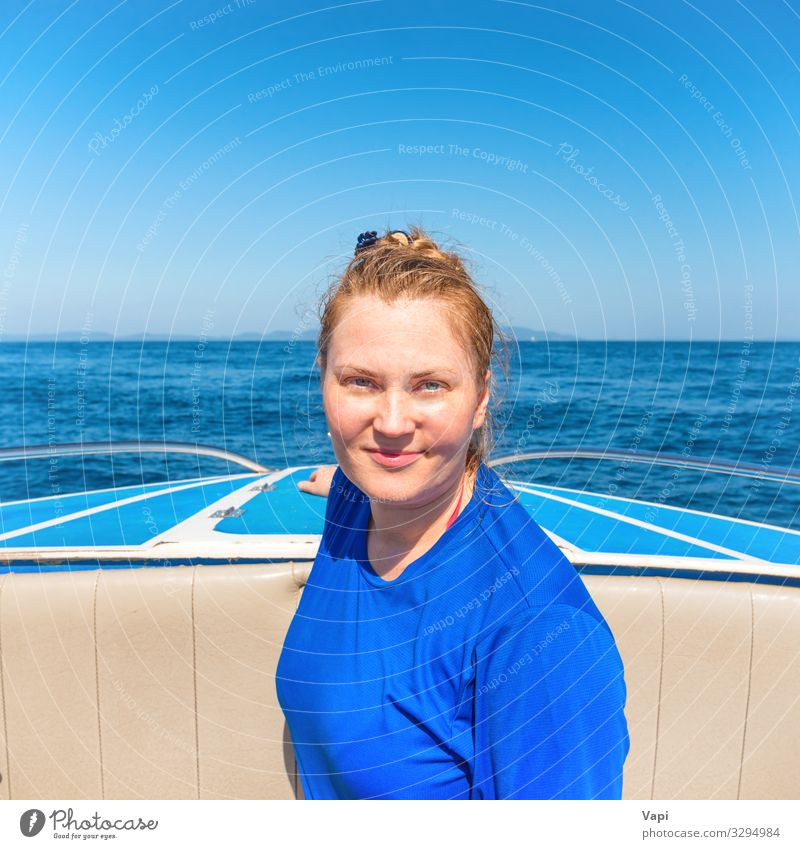 Young woman on head of a boat Woman Human being Sky Vacation & Travel Nature Youth (Young adults) Summer Blue Beautiful Water White Landscape Red Ocean
