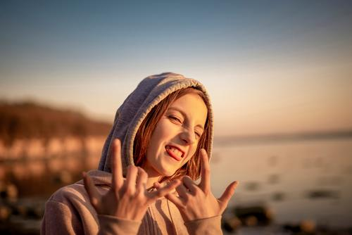 happy girl Joy luck Contentment Ocean Child Nature Blonde Long-haired Sign Laughter Brash Happiness Positive Emotions Hope teenager Gesture Youth (Young adults)