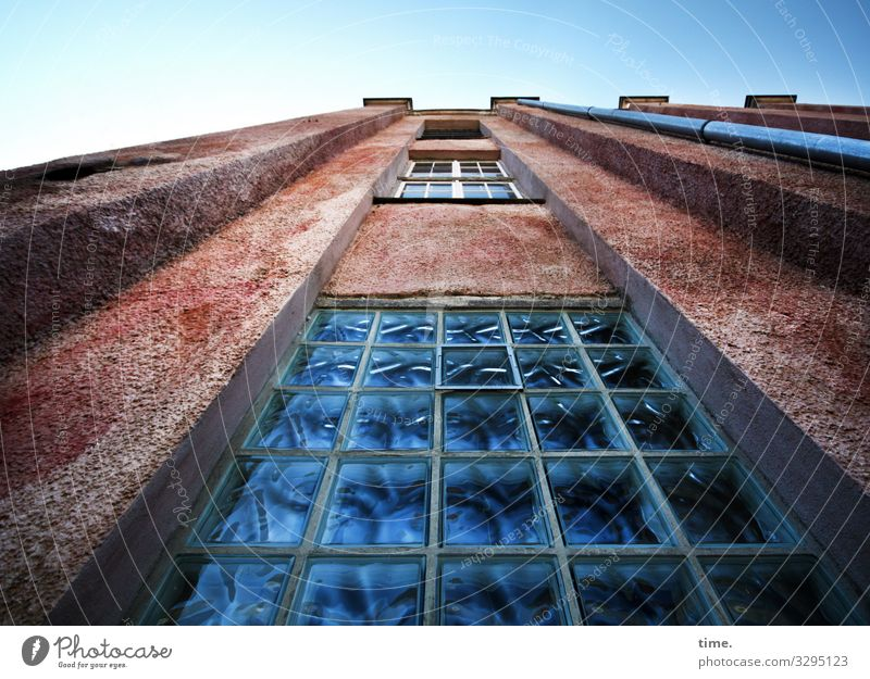 Sky House (Residential Structure) Window Wall (building) Time Wall (barrier) Stone Facade Moody Glass Power Perspective Beautiful weather Tall Historic