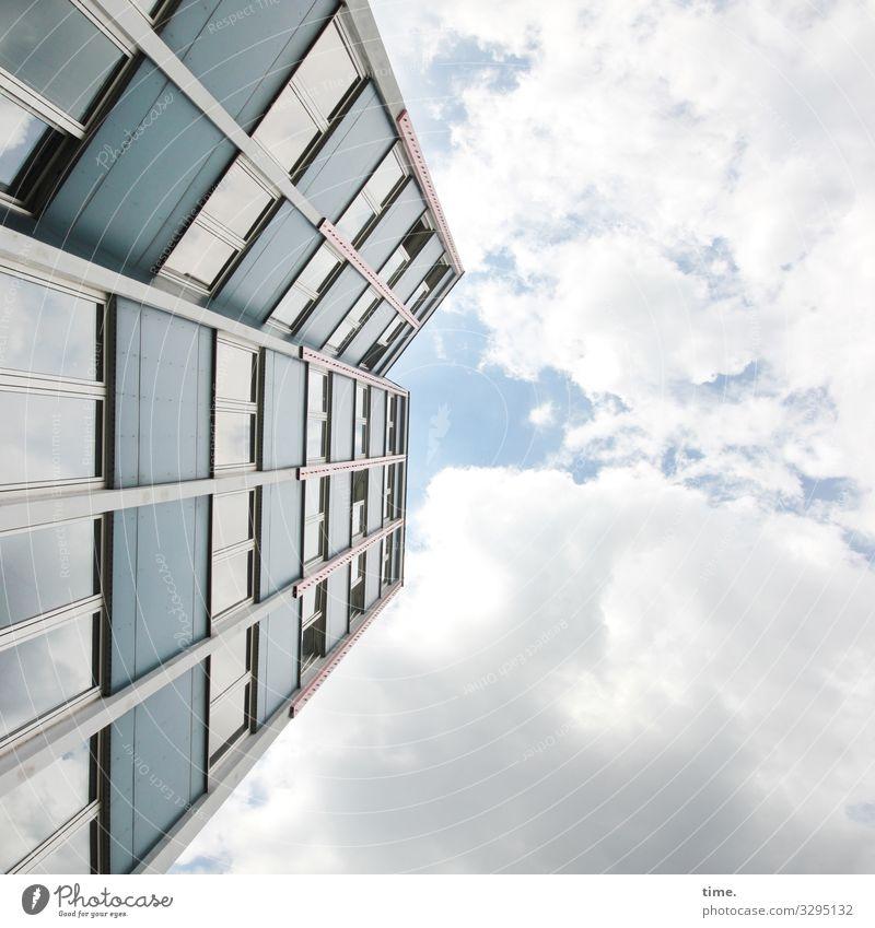 Sky Town Clouds Architecture Wall (building) Berlin Wall (barrier) Stone Facade Above Design Line Modern High-rise Glass Arrangement