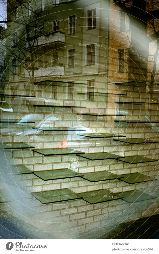 Empty shelves Interior design Window Store premises Trade Grating Glass Insolvency Consumption Opening time Deserted Shelves Shop window Window pane Slice