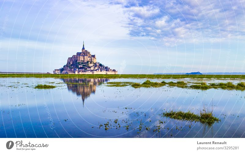 Mont-Saint-Michel reflecting in blue Vacation & Travel Tourism Ocean Island Landscape Church Castle Architecture Monument Blue France Monastery bretagne