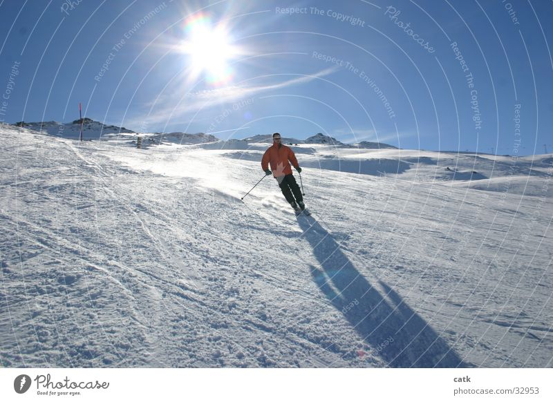 skier Skier Swing Back-light Sports Mountain Snow Shadow Laax Switzerland Berg Sun