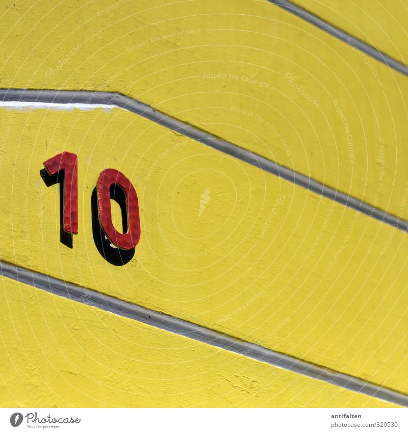 10 House (Residential Structure) Detached house Wall (barrier) Wall (building) Facade Concrete Metal Steel Digits and numbers Hang Yellow Red House number