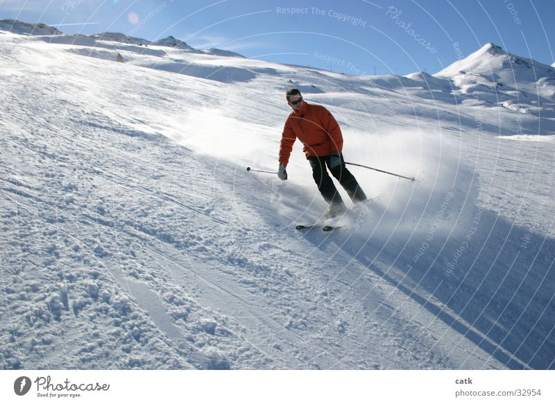 ski turn Skiing Skier Swing Switzerland Back-light Sports Laax Mountain Departure to Plaun Snow