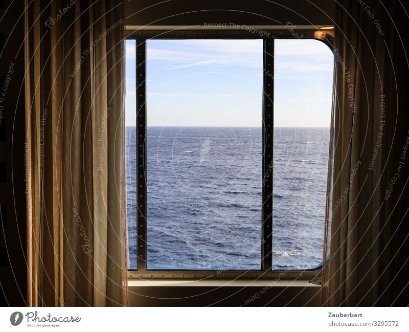 sea view Vacation & Travel Cruise Ocean Curtain Window Navigation Cruise liner Looking Gloomy Blue Brown Calm Curiosity Hope Longing Disappointment Expectation