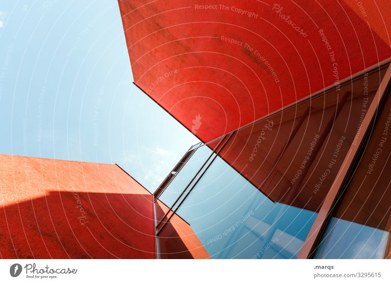 Blue Red Architecture Style Building Design Modern Elegant Glass Esthetic Perspective Future Concrete Cloudless sky Sharp-edged