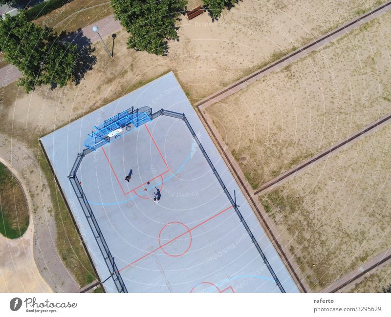 Aerial view of two unrecognizable teen playing basket Child Human being Youth (Young adults) Relaxation Joy Sports Boy (child) Playing Above Bright Park