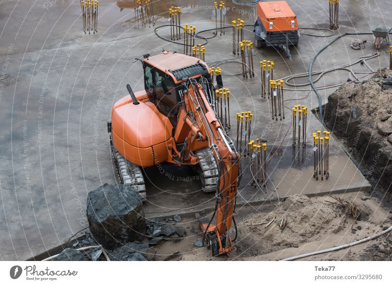 #Construction site and foundation Work and employment Profession Craftsperson Workplace Esthetic Industry Foundations Excavator Colour photo Exterior shot