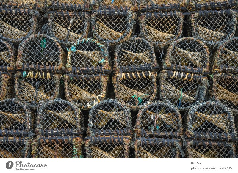 Lobster weirs on a pier. Food Fish Seafood Lifestyle Design Leisure and hobbies Vacation & Travel Tourism Sightseeing Beach Ocean Work and employment Profession